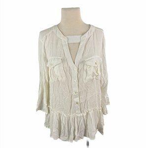 NWT DEREK HEART White Boho Button Down Shirt